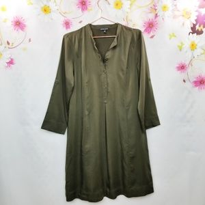 Eileen Fisher Army Green Popover Shirtdress